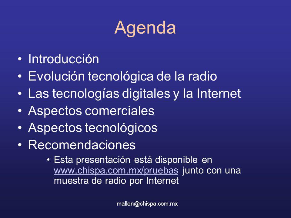 Agenda Introducción Evolución tecnológica de la radio