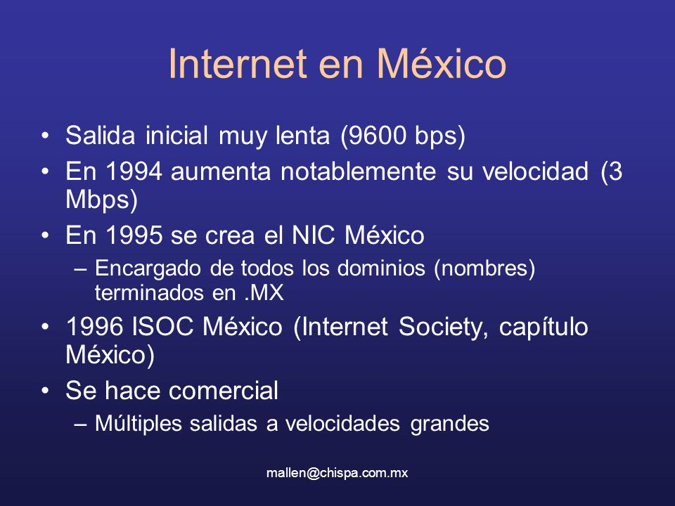 Internet en México Salida inicial muy lenta (9600 bps)