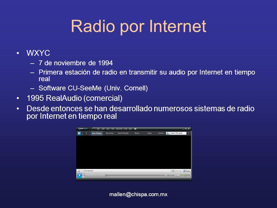 Radio por Internet WXYC 1995 RealAudio (comercial)