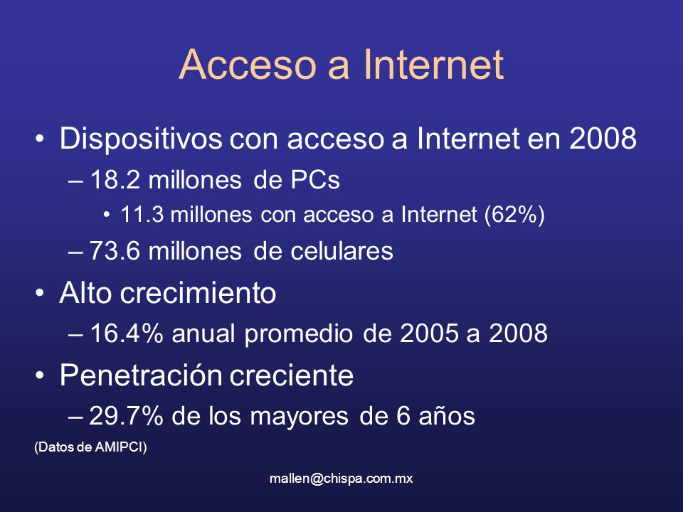 Acceso a Internet Dispositivos con acceso a Internet en 2008