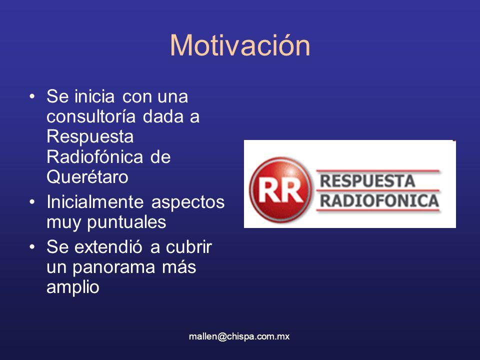 Motivación Se inicia con una consultoría dada a Respuesta Radiofónica de Querétaro. Inicialmente aspectos muy puntuales.