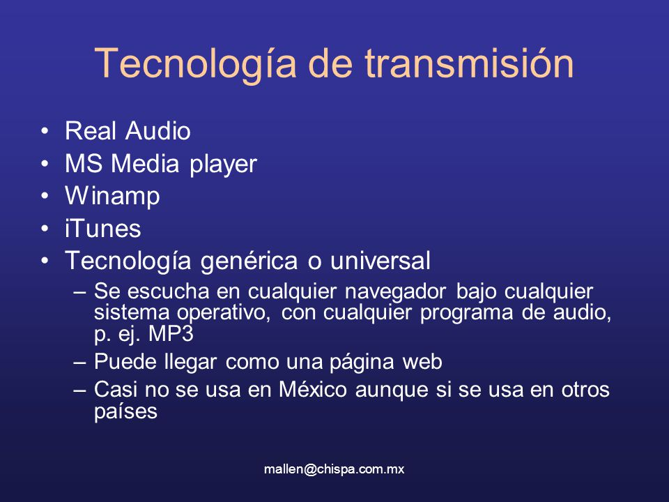 Tecnología de transmisión