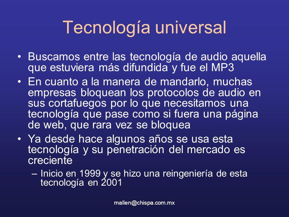 Tecnología universal Buscamos entre las tecnología de audio aquella que estuviera más difundida y fue el MP3.