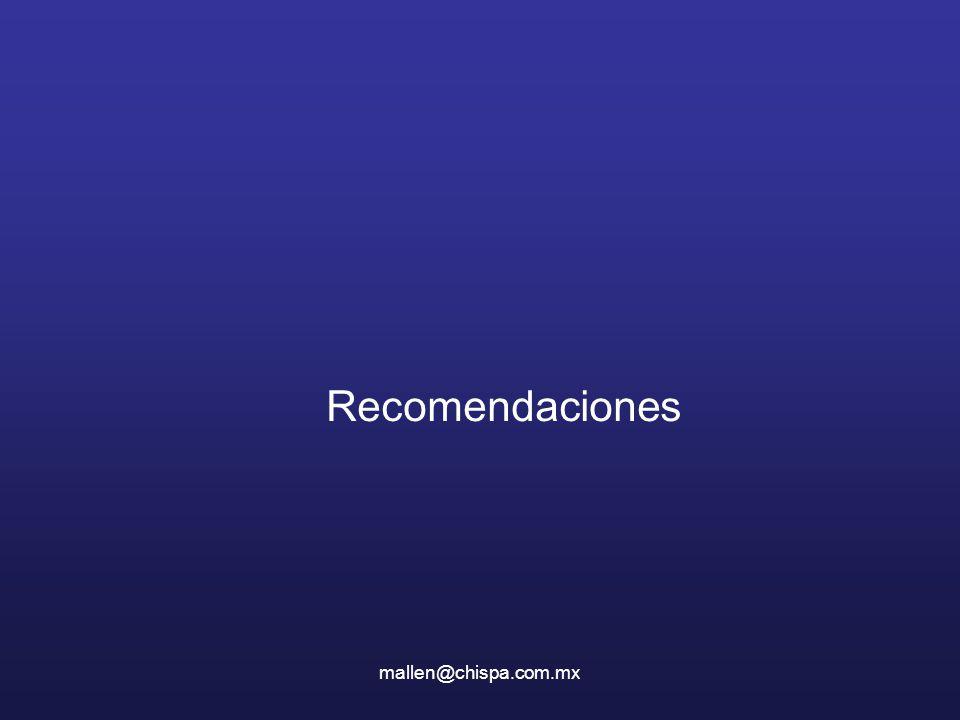 Recomendaciones mallen@chispa.com.mx