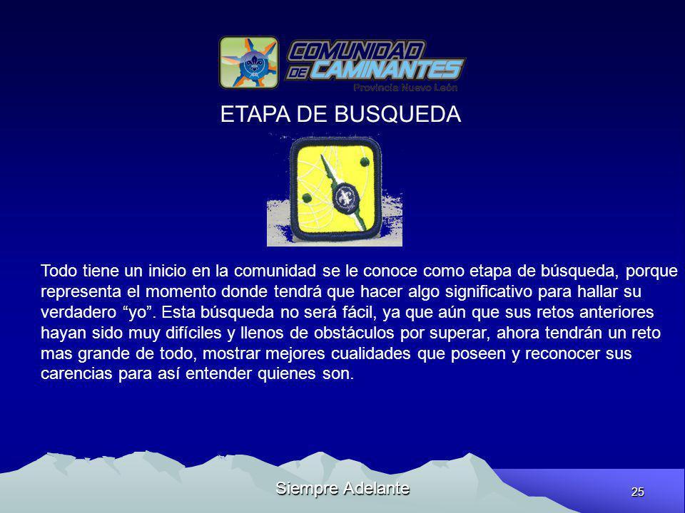 ETAPA DE BUSQUEDA Todo tiene un inicio en la comunidad se le conoce como etapa de búsqueda, porque.