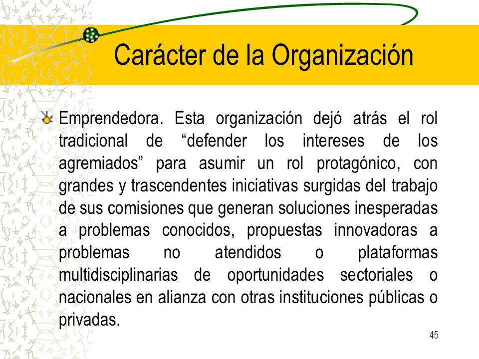 Carácter de la Organización