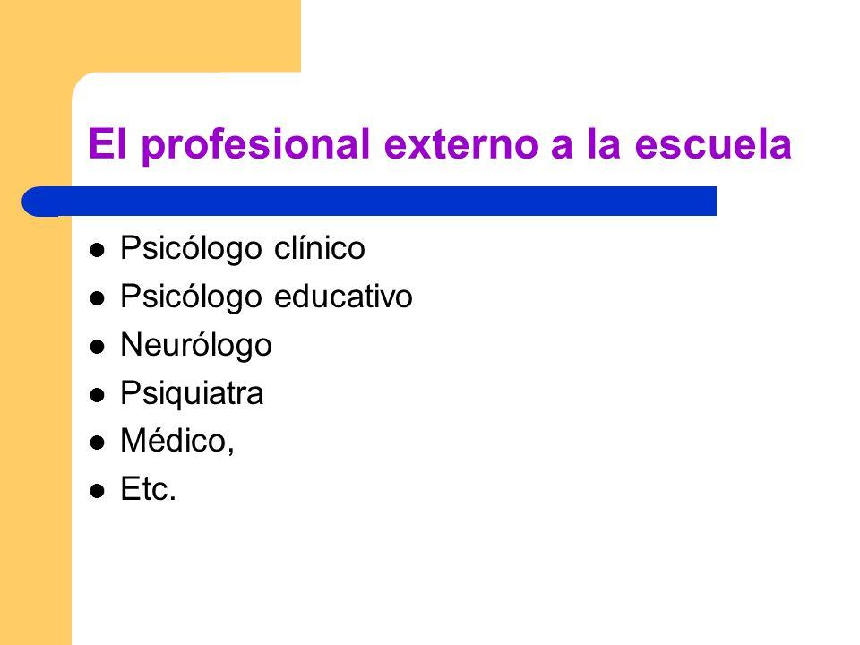El profesional externo a la escuela