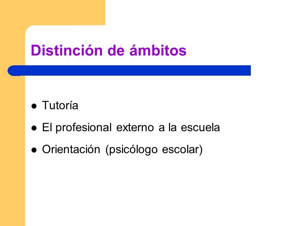 Distinción de ámbitos Tutoría El profesional externo a la escuela
