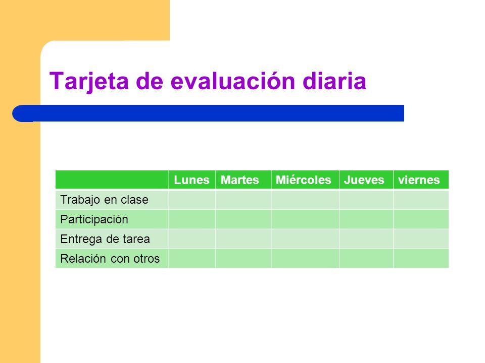 Tarjeta de evaluación diaria