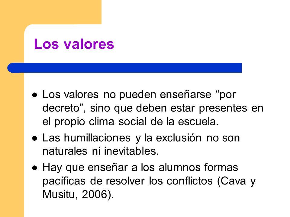Los valores Los valores no pueden enseñarse por decreto , sino que deben estar presentes en el propio clima social de la escuela.