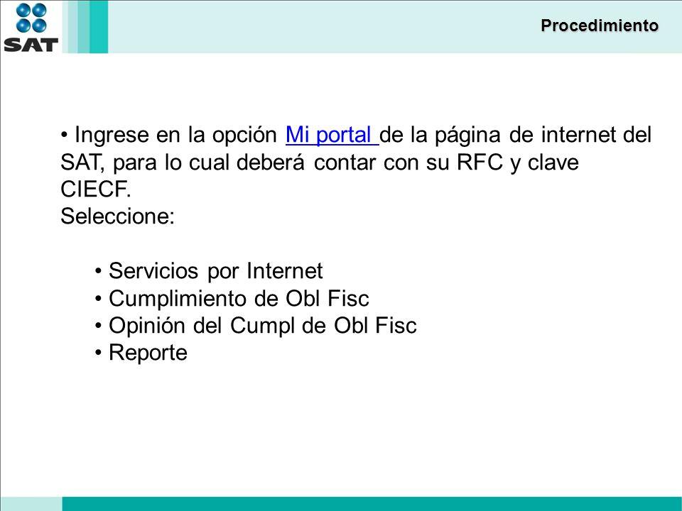 Servicios por Internet Cumplimiento de Obl Fisc