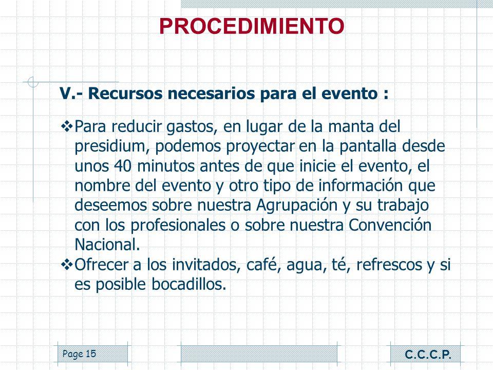 PROCEDIMIENTO V.- Recursos necesarios para el evento :