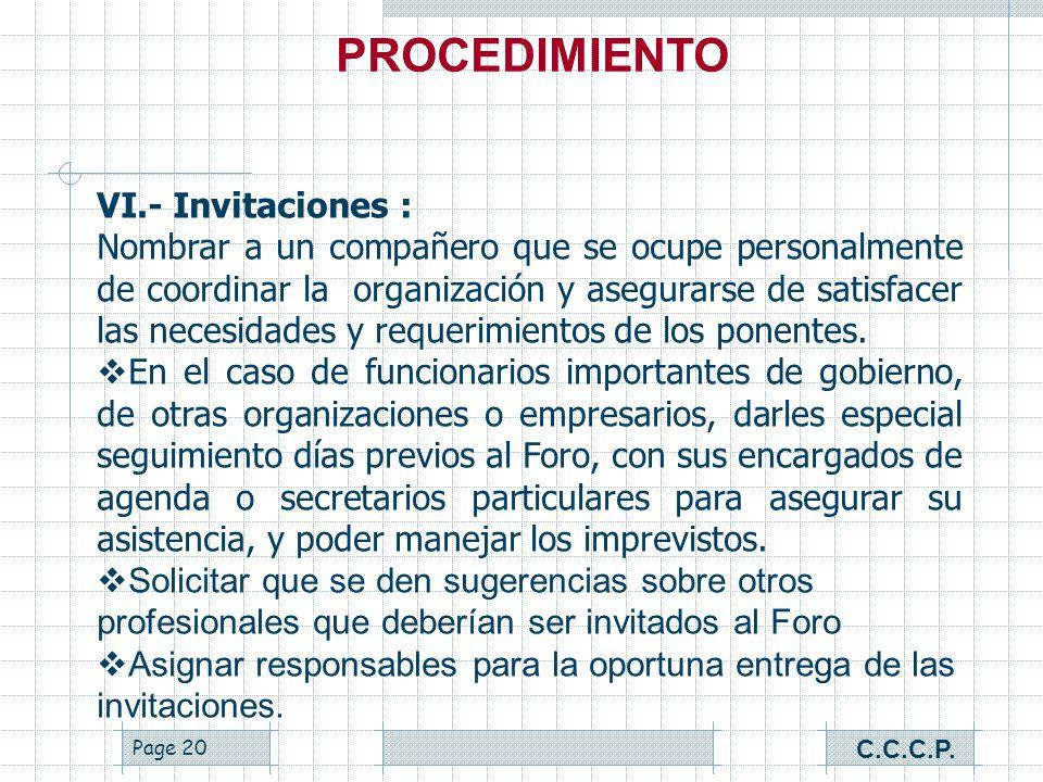 PROCEDIMIENTO VI.- Invitaciones :