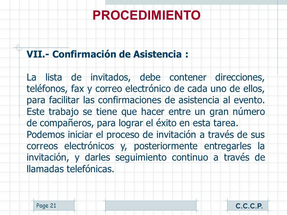 PROCEDIMIENTO VII.- Confirmación de Asistencia :