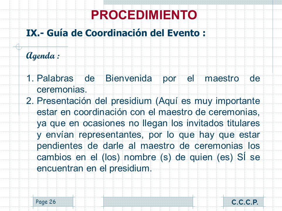 PROCEDIMIENTO IX.- Guía de Coordinación del Evento : Agenda :