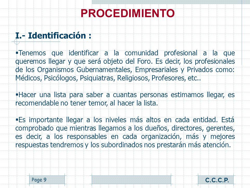 PROCEDIMIENTO I.- Identificación :