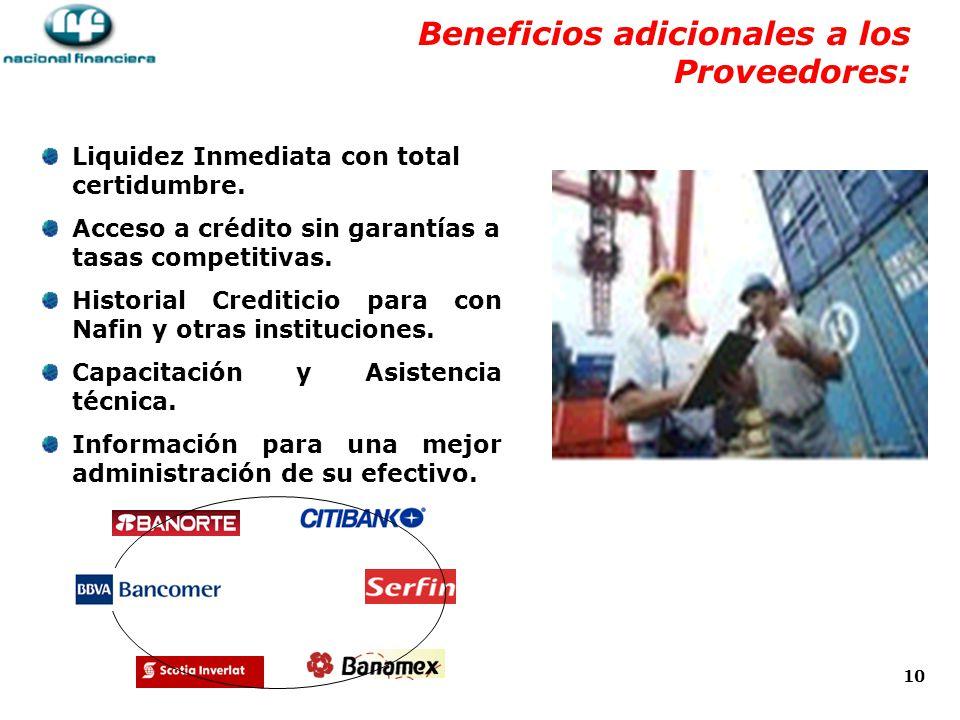 Beneficios adicionales a los Proveedores: