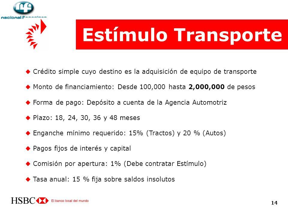 Estímulo Transporte Crédito simple cuyo destino es la adquisición de equipo de transporte.
