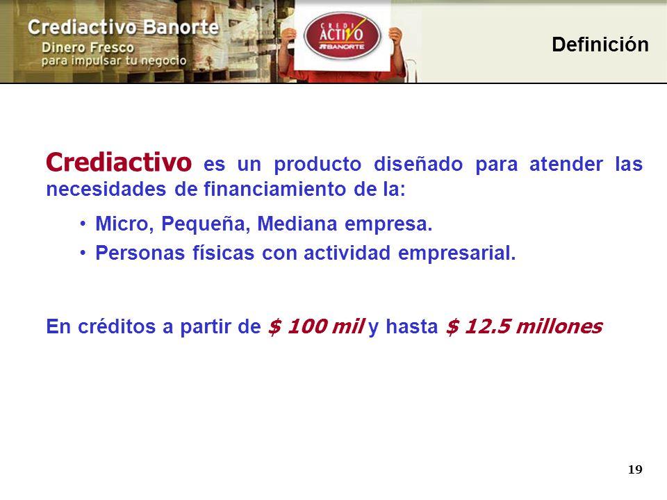 Definición Comecial Definición. Crediactivo es un producto diseñado para atender las necesidades de financiamiento de la: