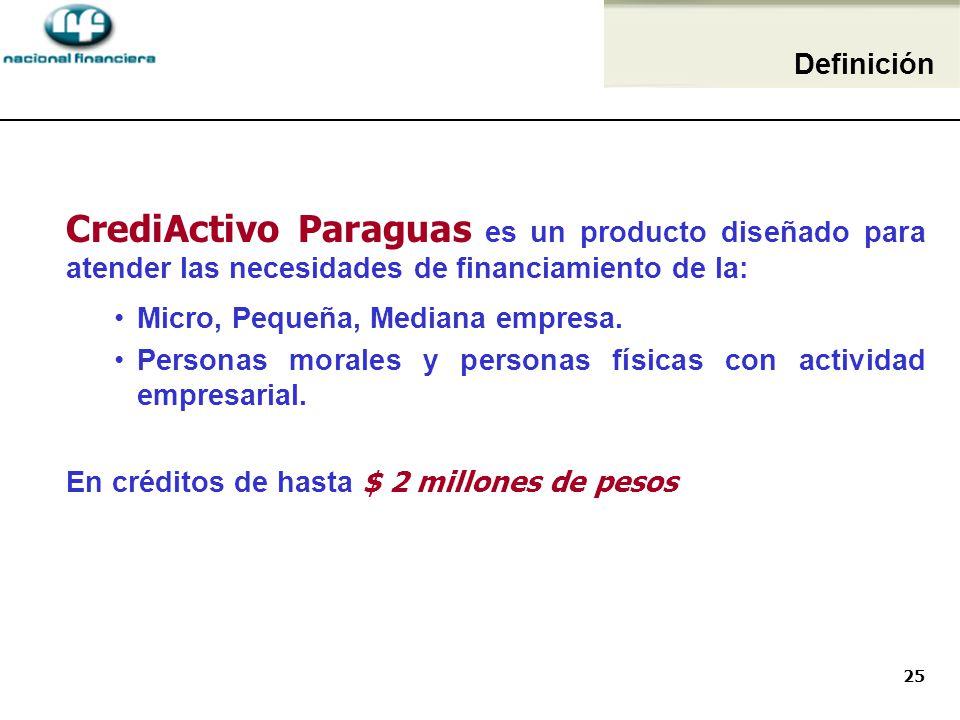 Definición CrediActivo Paraguas es un producto diseñado para atender las necesidades de financiamiento de la: