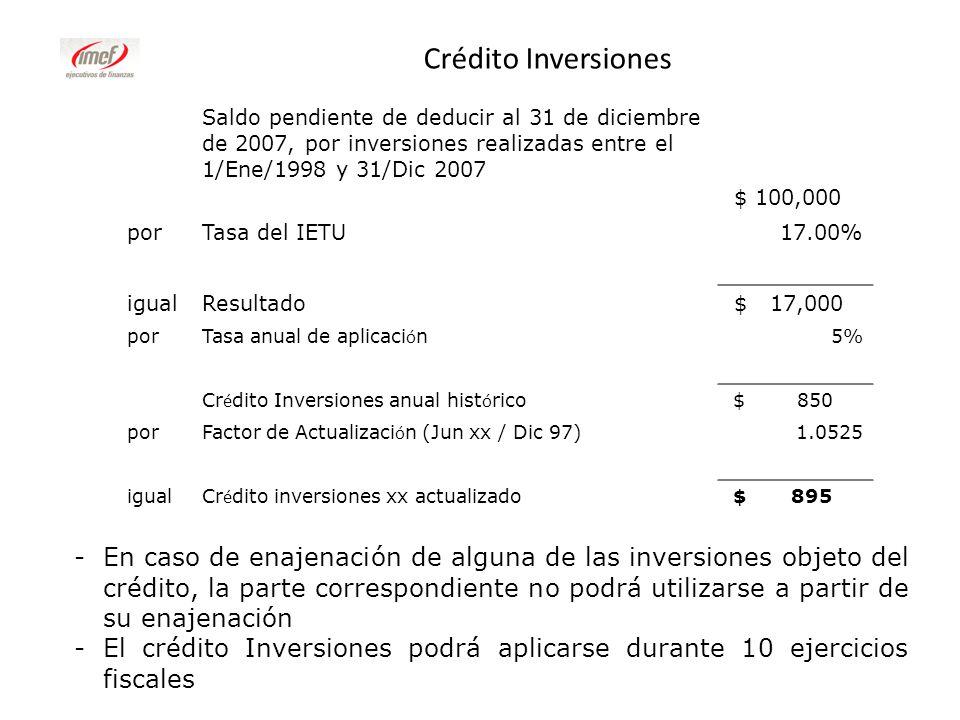 Crédito Inversiones Saldo pendiente de deducir al 31 de diciembre de 2007, por inversiones realizadas entre el 1/Ene/1998 y 31/Dic 2007.