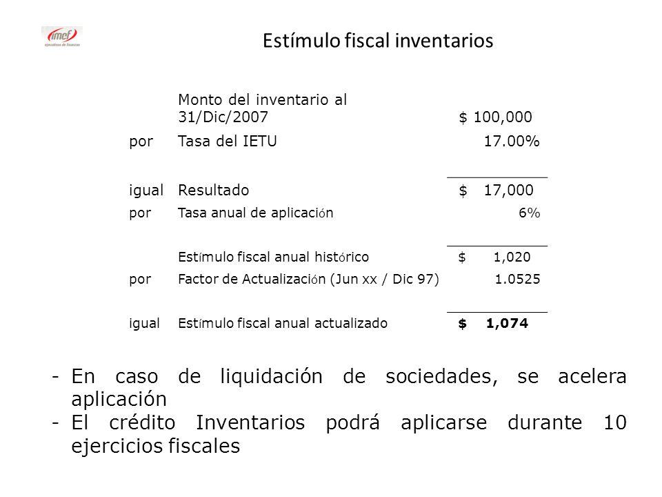 Estímulo fiscal inventarios