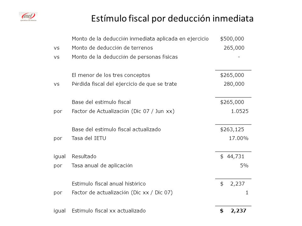 Estímulo fiscal por deducción inmediata