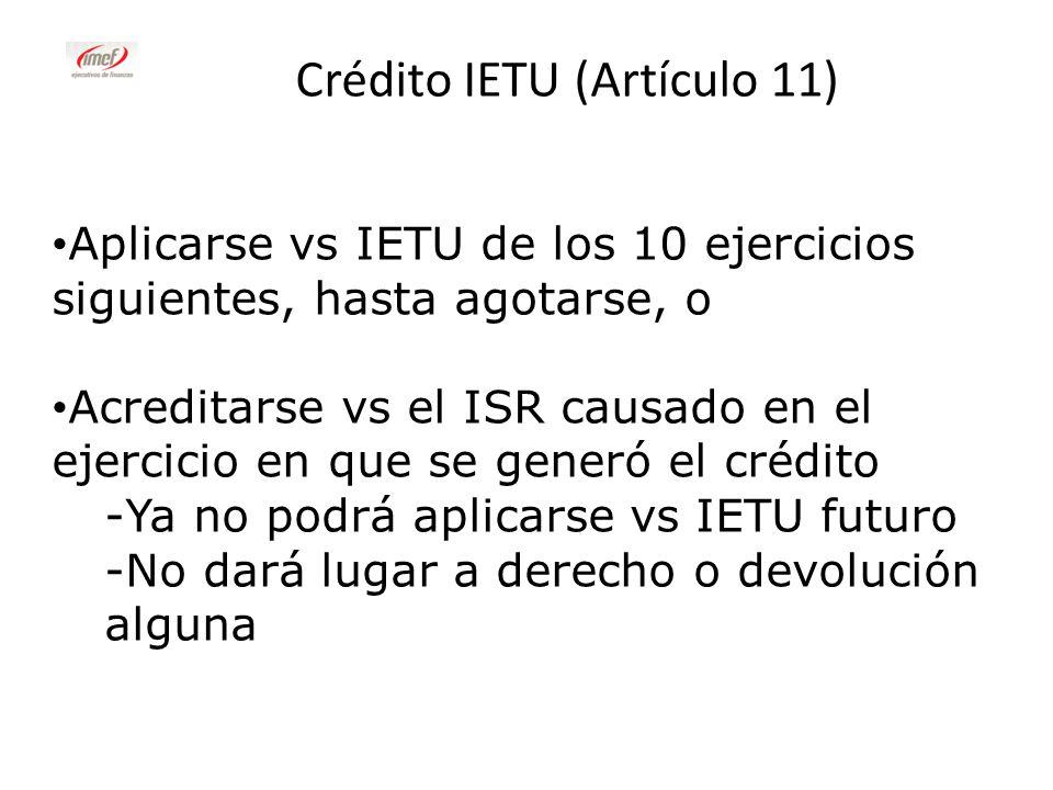 Crédito IETU (Artículo 11)