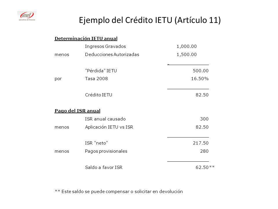 Ejemplo del Crédito IETU (Artículo 11)