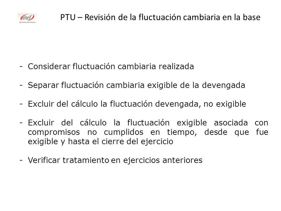 PTU – Revisión de la fluctuación cambiaria en la base