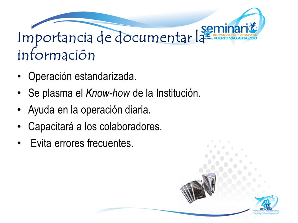 Importancia de documentar la información