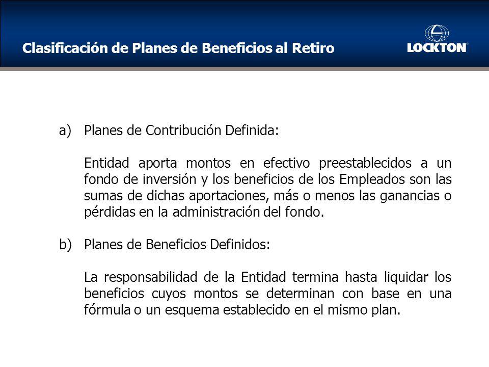 Clasificación de Planes de Beneficios al Retiro