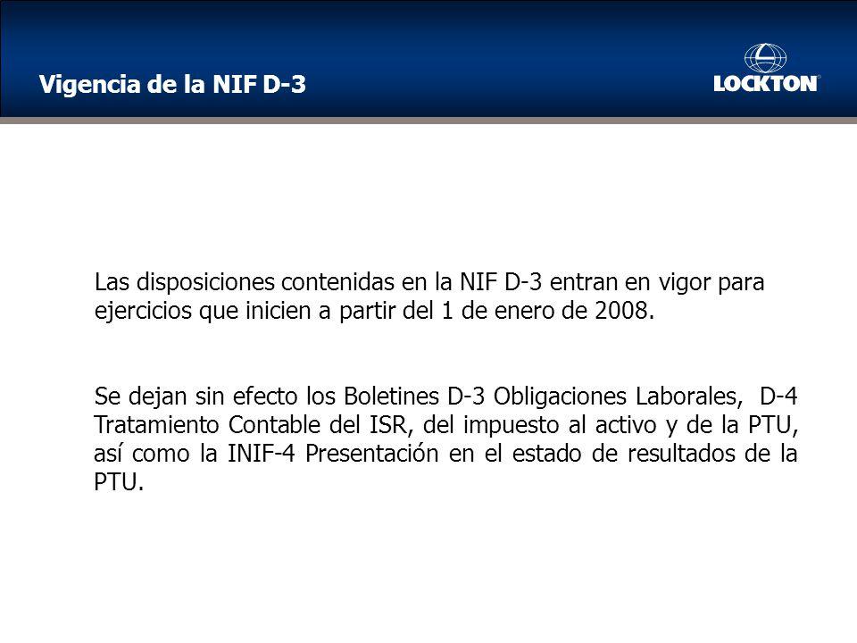 Vigencia de la NIF D-3 Las disposiciones contenidas en la NIF D-3 entran en vigor para. ejercicios que inicien a partir del 1 de enero de 2008.