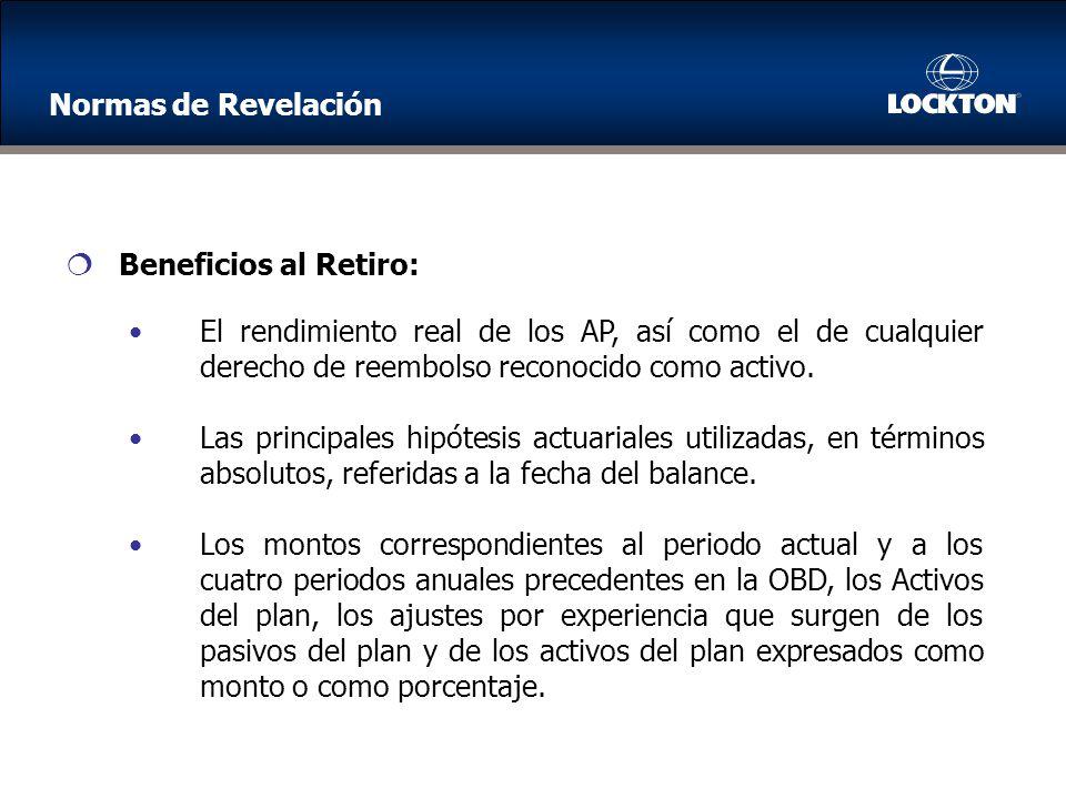 Normas de Revelación Beneficios al Retiro: El rendimiento real de los AP, así como el de cualquier derecho de reembolso reconocido como activo.