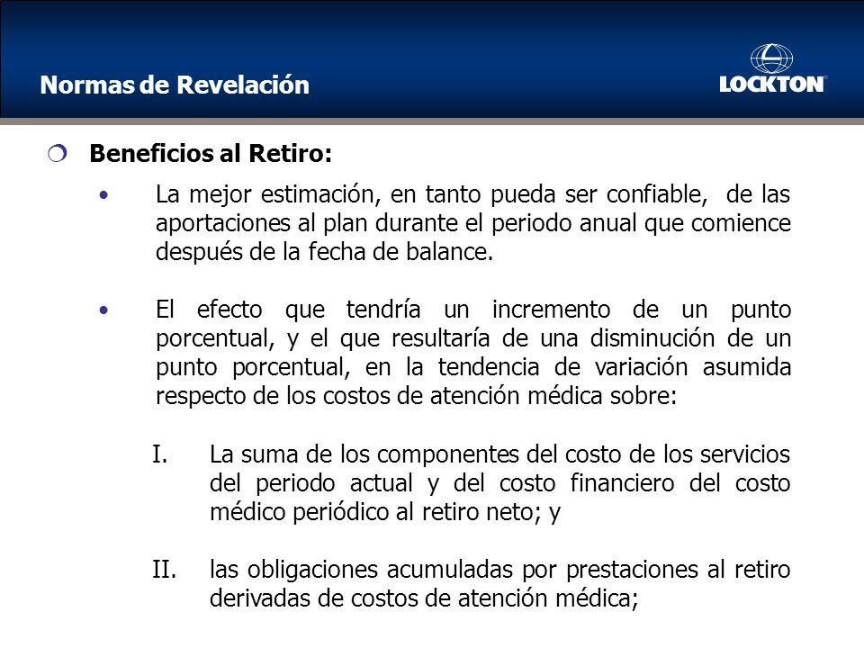 Normas de Revelación Beneficios al Retiro: