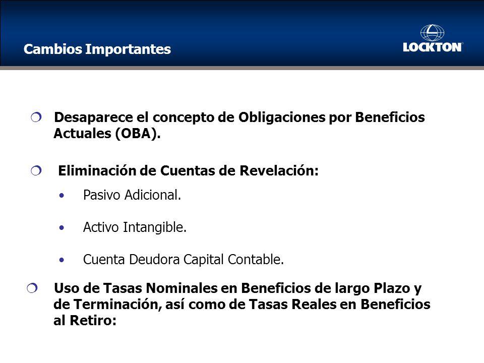 Cambios Importantes Desaparece el concepto de Obligaciones por Beneficios. Actuales (OBA). Eliminación de Cuentas de Revelación: