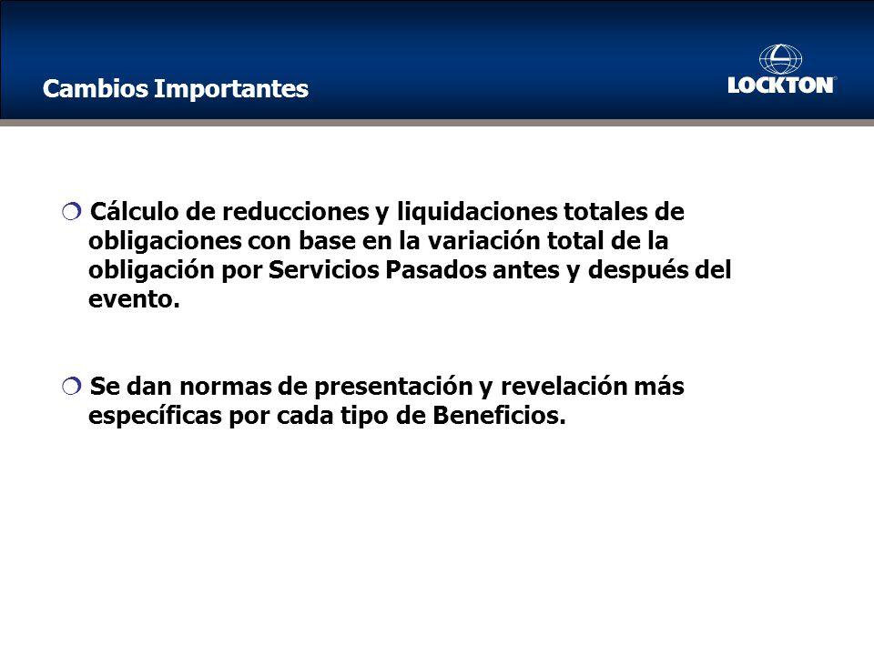 Cambios Importantes Cálculo de reducciones y liquidaciones totales de. obligaciones con base en la variación total de la.
