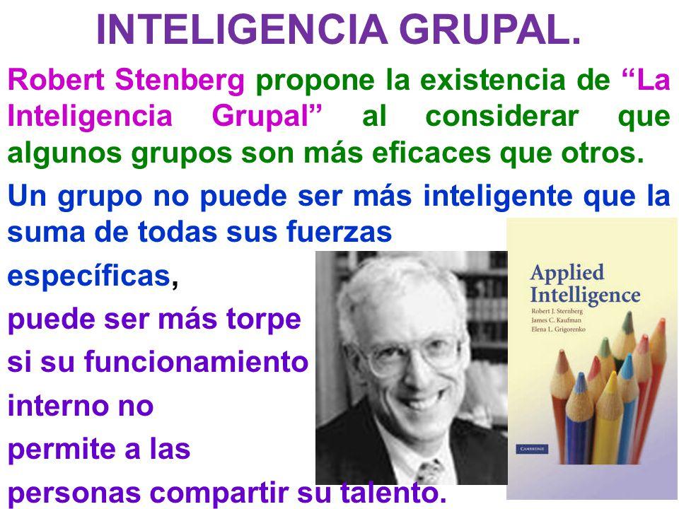 INTELIGENCIA GRUPAL. Robert Stenberg propone la existencia de La Inteligencia Grupal al considerar que algunos grupos son más eficaces que otros.