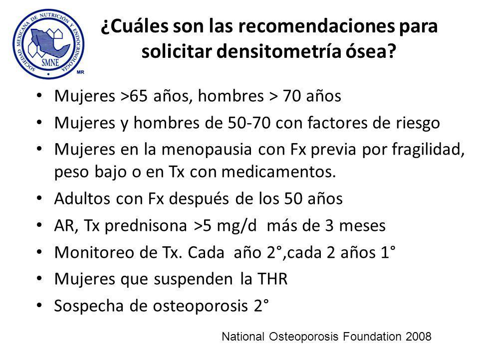 ¿Cuáles son las recomendaciones para solicitar densitometría ósea
