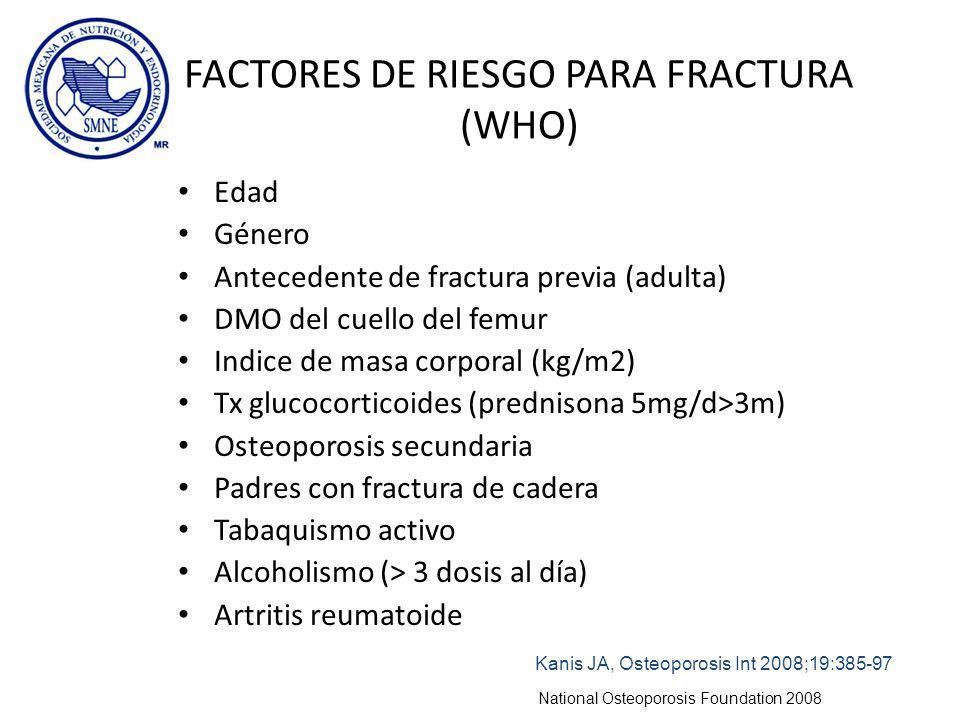 FACTORES DE RIESGO PARA FRACTURA (WHO)