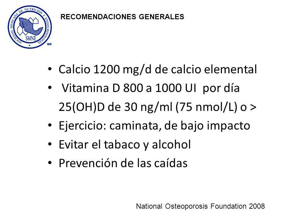 Calcio 1200 mg/d de calcio elemental Vitamina D 800 a 1000 UI por día