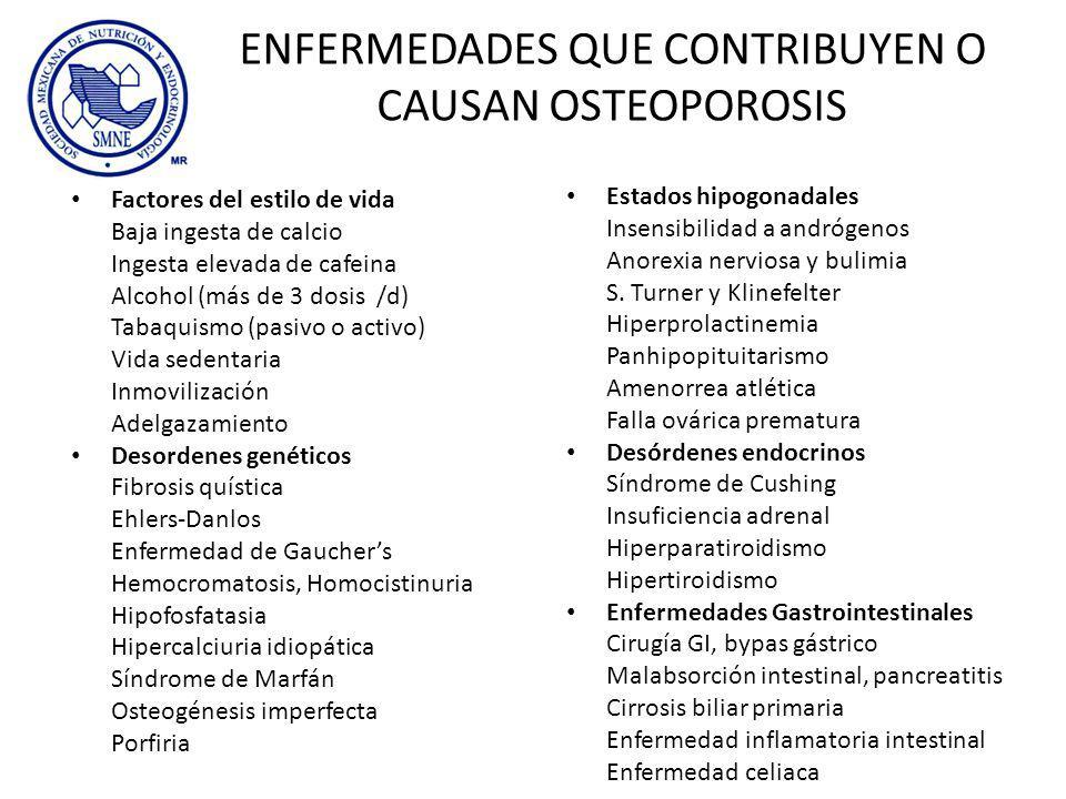 ENFERMEDADES QUE CONTRIBUYEN O CAUSAN OSTEOPOROSIS