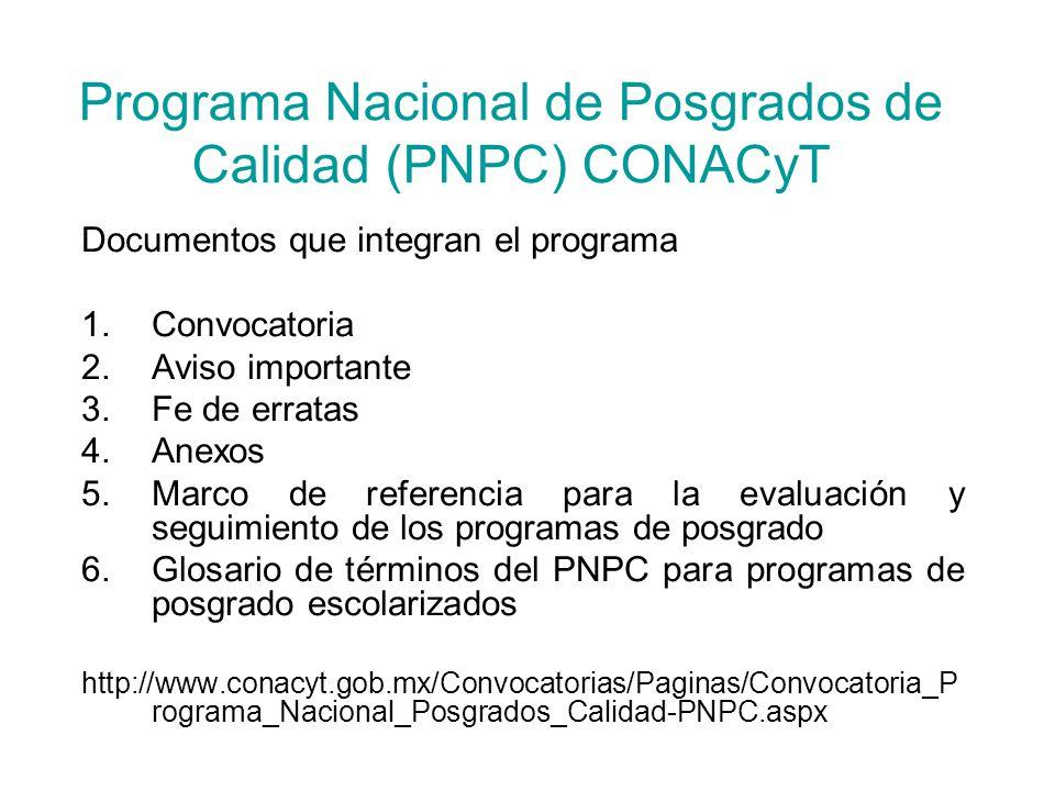 Programa Nacional de Posgrados de Calidad (PNPC) CONACyT