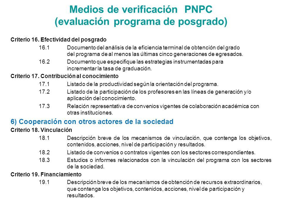 Medios de verificación PNPC (evaluación programa de posgrado)