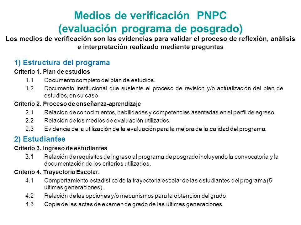 Medios de verificación PNPC (evaluación programa de posgrado) Los medios de verificación son las evidencias para validar el proceso de reflexión, análisis e interpretación realizado mediante preguntas