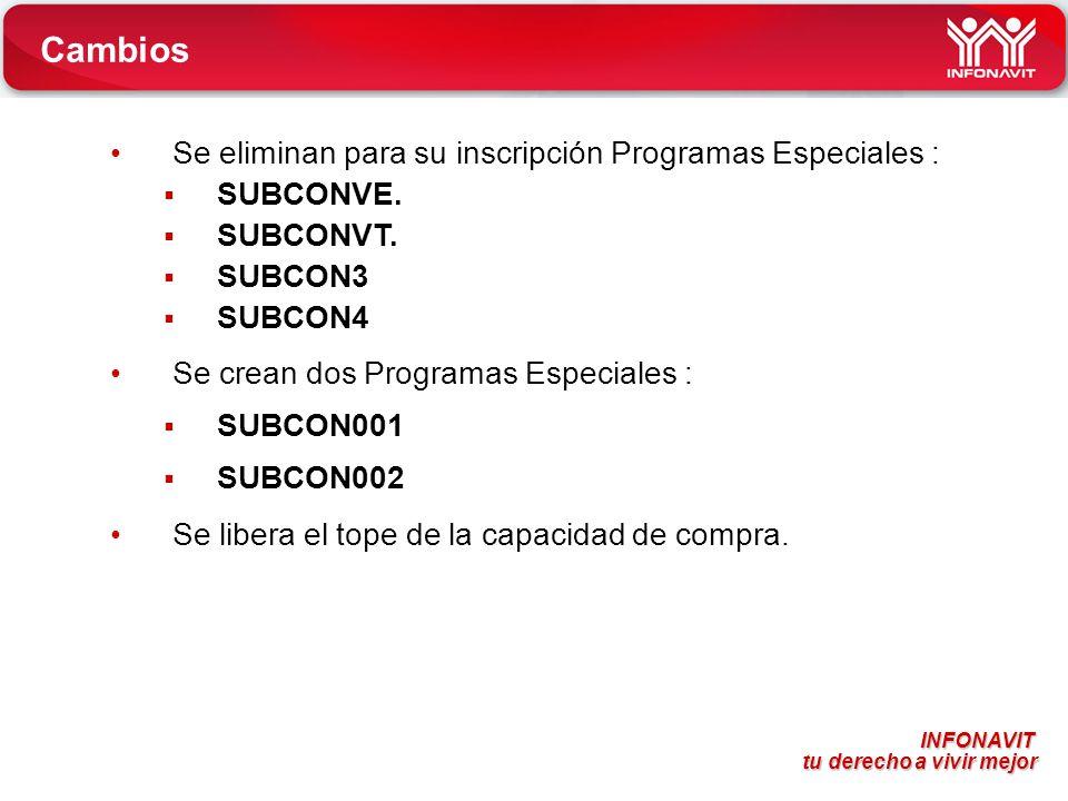 Cambios Se eliminan para su inscripción Programas Especiales :