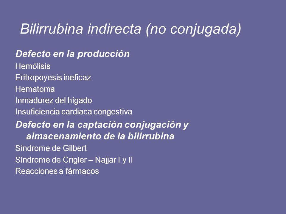 Bilirrubina indirecta (no conjugada)
