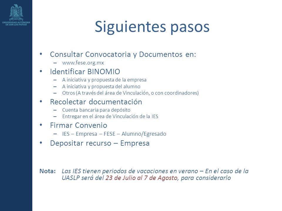 Siguientes pasos Consultar Convocatoria y Documentos en: