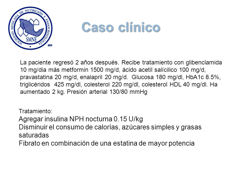 Caso clínico Agregar insulina NPH nocturna 0.15 U/kg