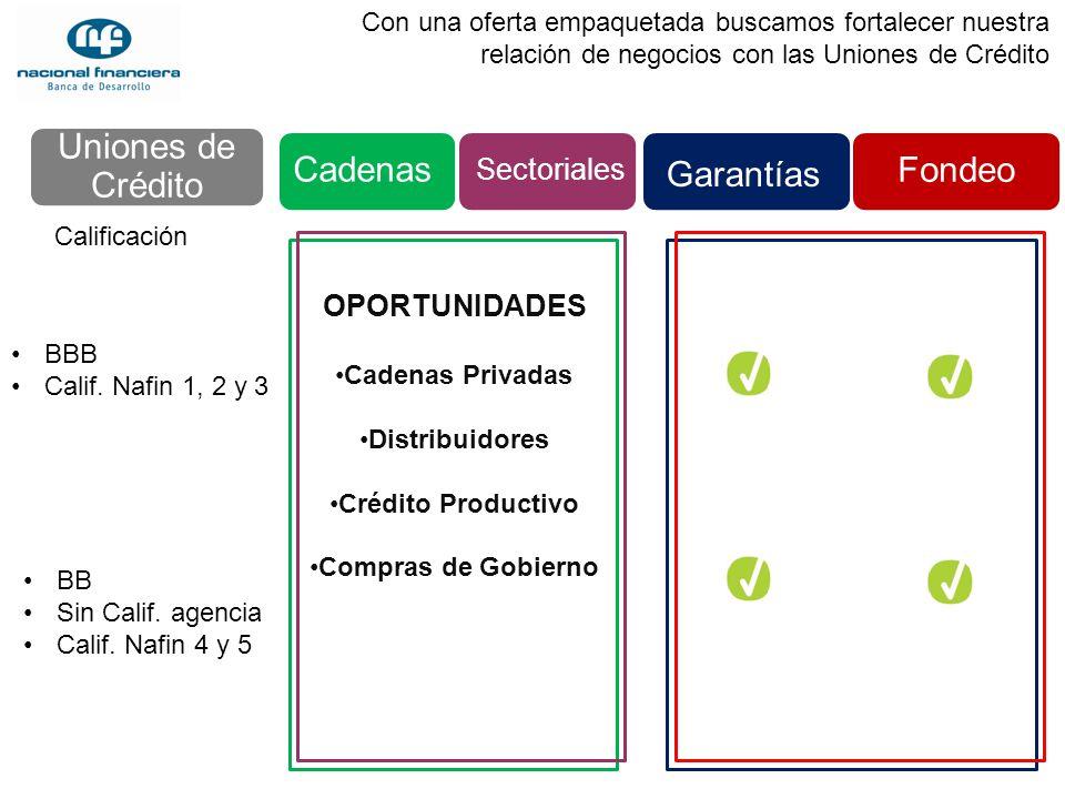 Uniones de Crédito Cadenas Fondeo Garantías Sectoriales OPORTUNIDADES